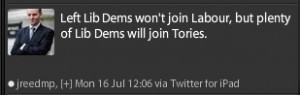 Lib Dems say no to Labour but yes to the Tories