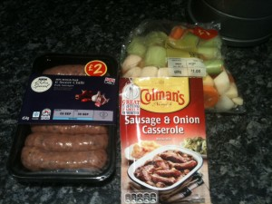 raw ingredients for sausage casserole